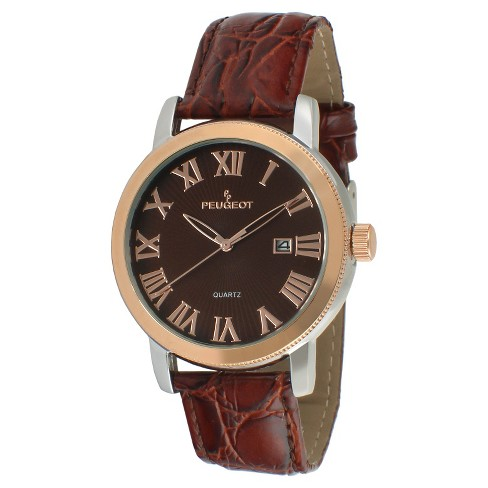 Men's Peugeot® Round Leather Strap Calendar Watch - Brown - image 1 of 2