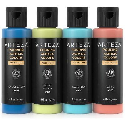 Arteza Acrylic Pouring Paint Kit, 120 ml Bottle Set, Spring Colors - 4 Pack (ARTZ-2850)