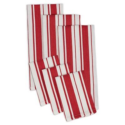 Tomato Stripe Herringbone Dishtowel Dishcloth (Set Of 3)- Design Imports