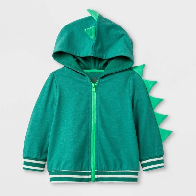 Baby Boys' Long Sleeve Critter Dino Hooded Sweatshirt - Cat & Jack™ Green 3-6M