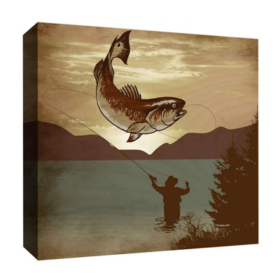 "16"" x 16"" Fishing Man II Decorative Wall Art - PTM Images"