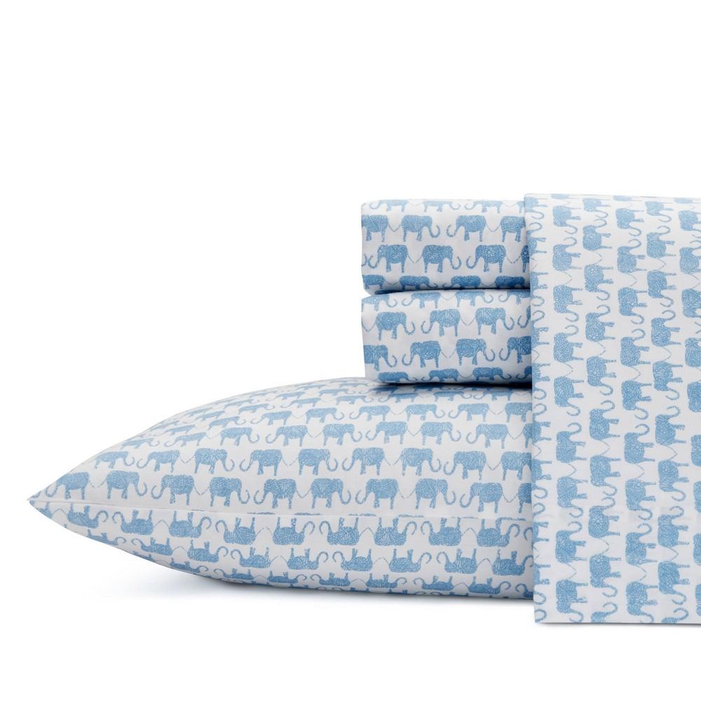 Image of Full 100% Cotton Printed Pattern Sheet Set Blue Elephant - Ivory Ella