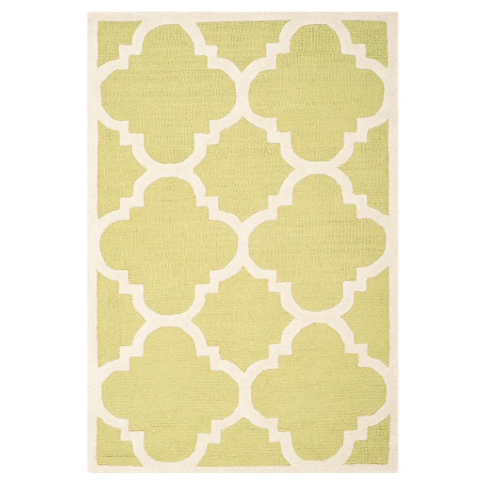 4 39 X6 39 Landon Texture Wool Rug Green Ivory Safavieh