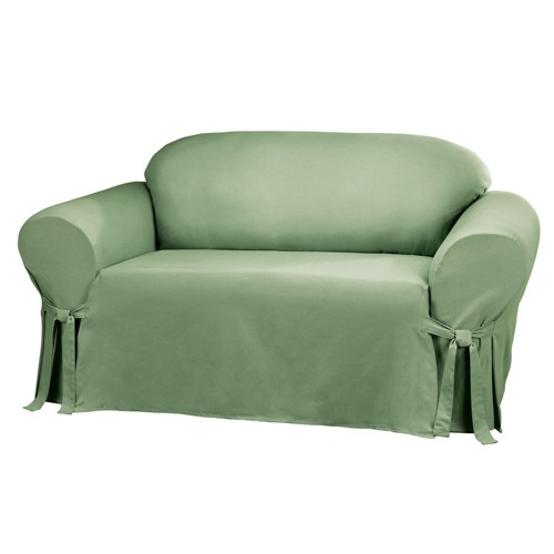 Cotton Duck Sofa Slipcover Sage Green - Sure Fit