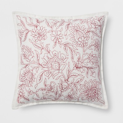 Embroidered Floral Square Throw Pillow Red - Threshold™