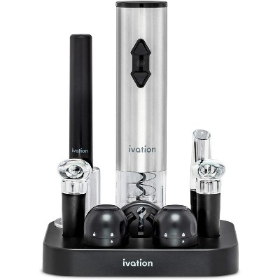 Ivation 9-Piece Wine Opener Gift Set | Deluxe Bar Kit with Electric Battery-Operated Bottle Opener, Air Pump Cork Extractor, Aerator Pourer, Wine Stoppers, Champagne Stoppers, Foil Cutter & Stand
