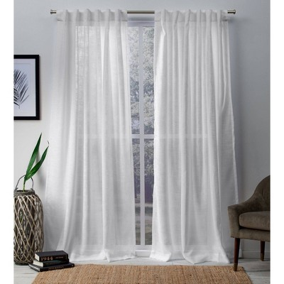 "Set of 2 108""x54"" Bella Sheer Hidden Tab Top Curtain Panel White - Exclusive Home"