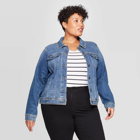 Women's Plus Size Jean Jacket - Ava & Viv™ Medium Wash - image 1 of 3