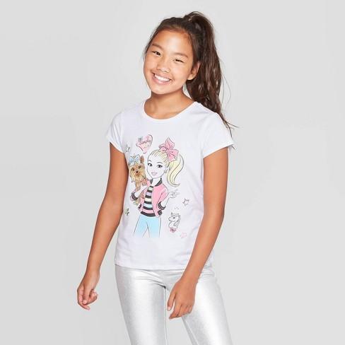 Jojo Siwa Kids Girls 100/% Cotton  Short  Sleeve SweatShirt Tops Clothes+trousers