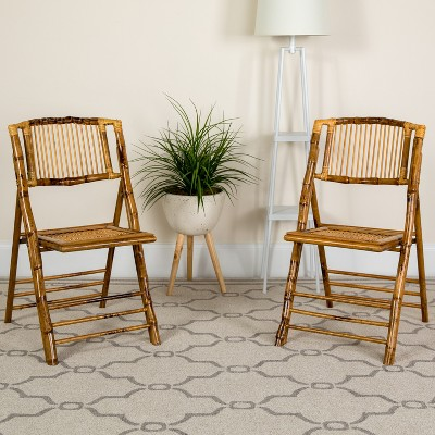 Flash Furniture Bamboo Folding Chairs | Set of 2 Bamboo Wood Folding Chairs