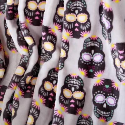 "50""x60"" Tulum Sugar Skulls Printed Halloween Throw Blanket Gray - Better Living : Target"
