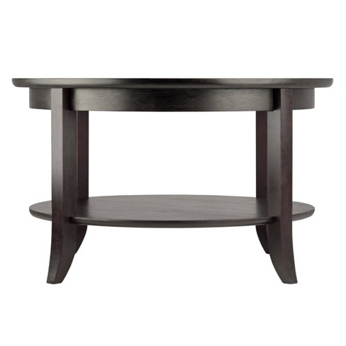 Genoa Coffee Table Gl Inset And Shelf Dark Espresso Winsome Target