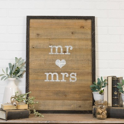 VIP Home & Garden 21.5 x1.3 x30  Wood Sign  Mr & Mrs  Brown