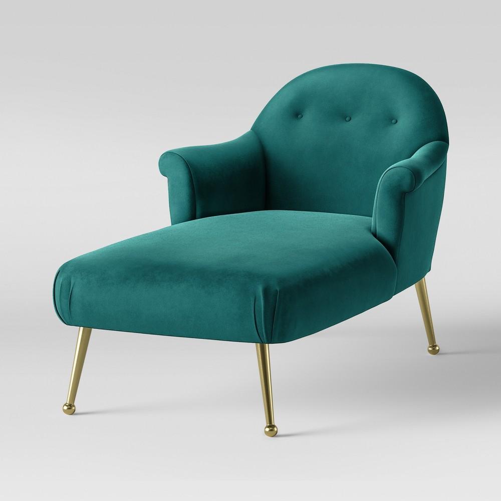 Comfrey Chaise Lounge with Brass Legs Teal Velvet - Opalhouse