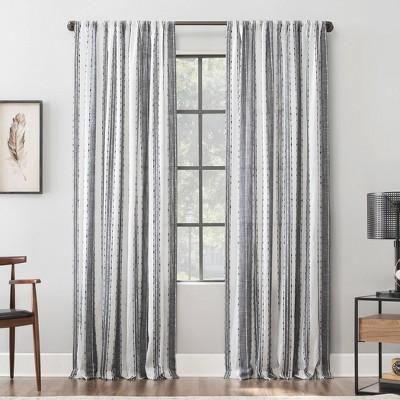"52""x96"" Slub Texture Stripe Cotton Light Filtering Curtain Black/White - Archaeo"