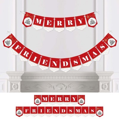 Big Dot of Happiness Red and Gold Friendsmas - Friends Christmas Party Bunting Banner - Party Decorations - Merry Friendsmas