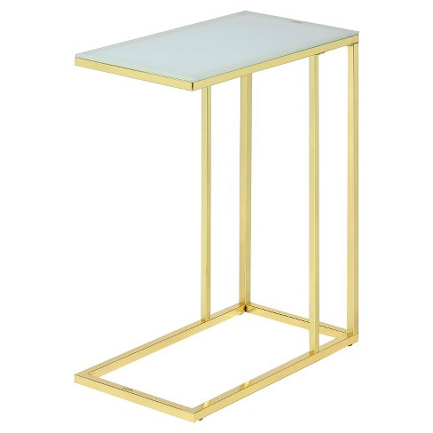 Frosted Glass End Table - Bright Gold - Fox Hill Trading - image 1 of 2