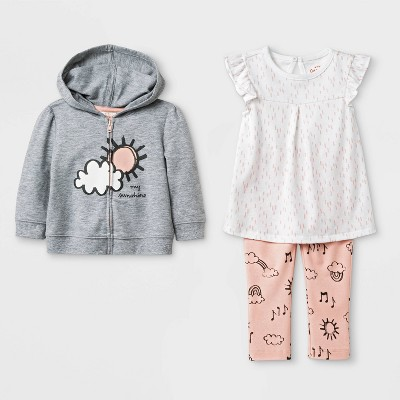 Baby Girls' Tunic, Hoodie and Leggings Set - Cat & Jack™ Gray/White/Peach 0-3M