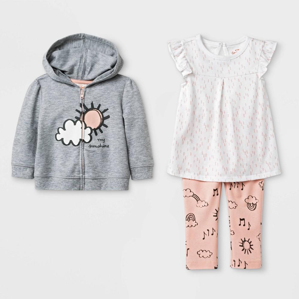 Baby Girls' Tunic, Hoodie and Leggings Set - Cat & Jack Gray/White/Peach 6-9M