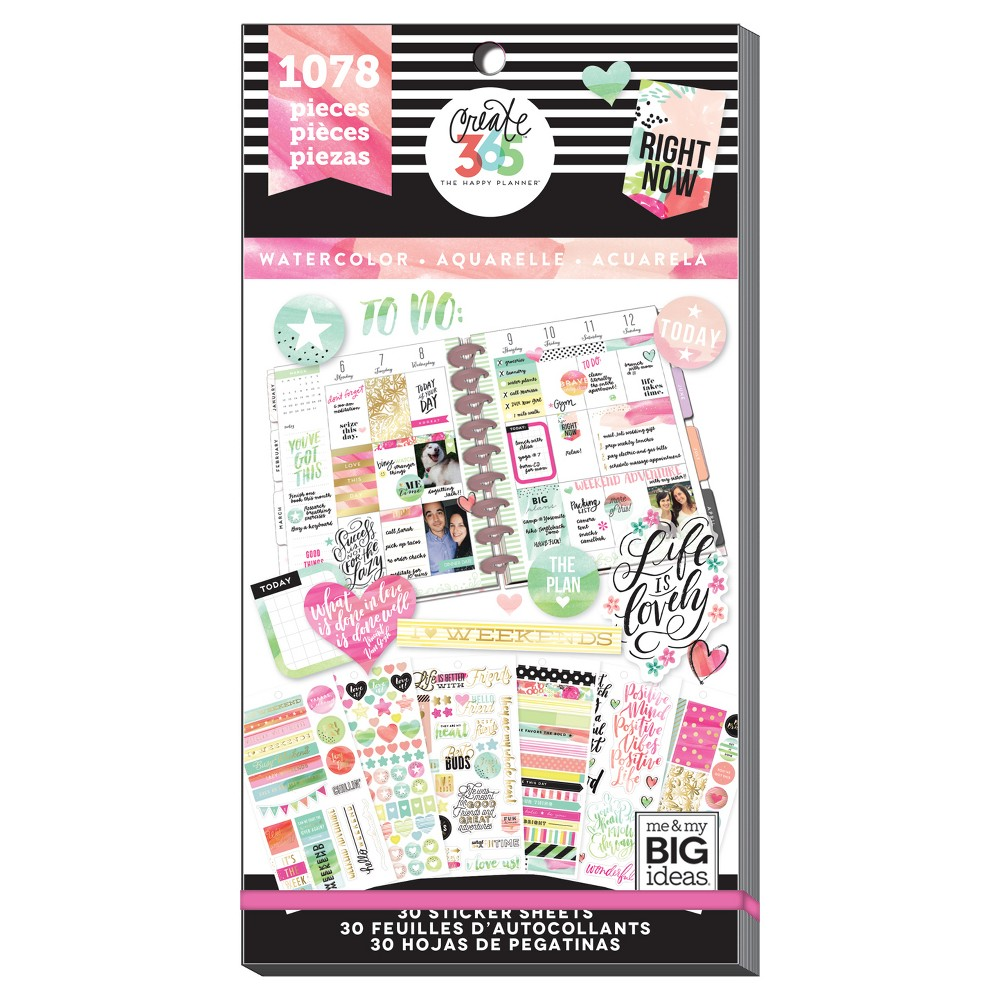 Me & My Big Ideas Planner Stickers Watercolor Theme 1078ct