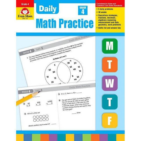 Daily Math Practice, Grade 4 - by  Evan-Moor Educational Publishers (Paperback) - image 1 of 1