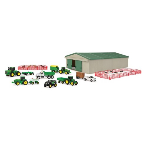 Large 18 Piece Diecast Plastic Tractor Farm Animals And Vehicles Toy Play Set