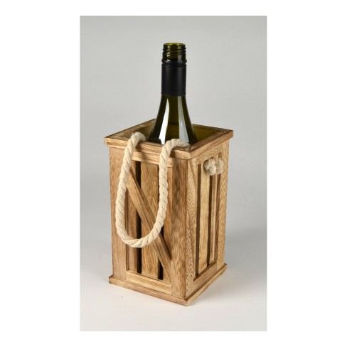 Wooden Rectangular Wine Bottle Holder Crate - Home Mixology - image 1 of 1