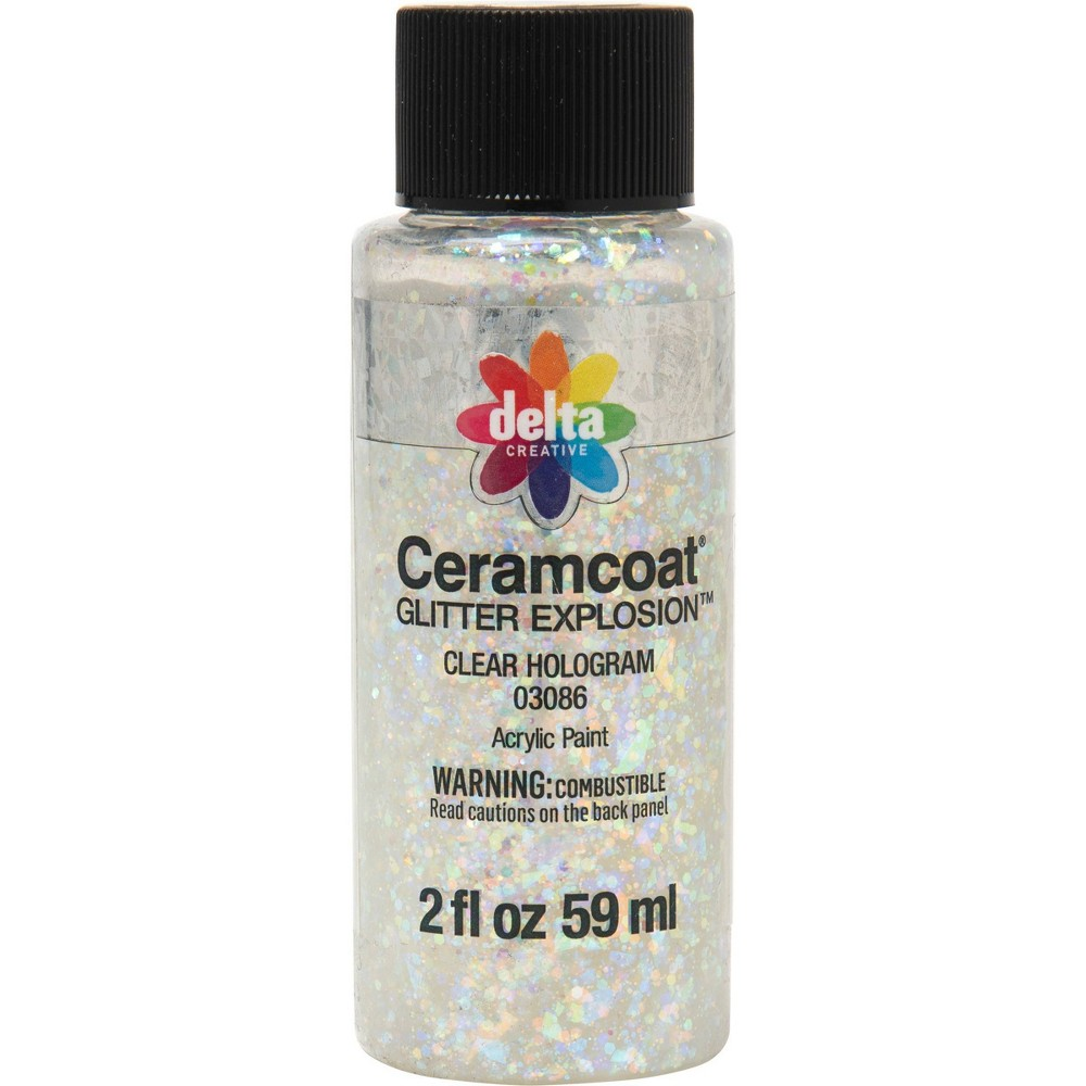 Delta Ceramcoat Glitter Explosion Acrylic Paint (2oz) - Clear Hologram
