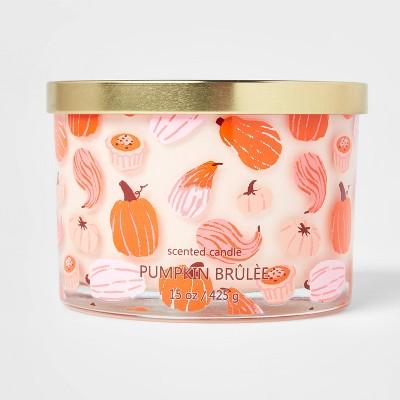 15oz Lidded Glass Jar Pumpkin and Gourd Print 3-Wick Pumpkin Brulee Candle - Opalhouse™