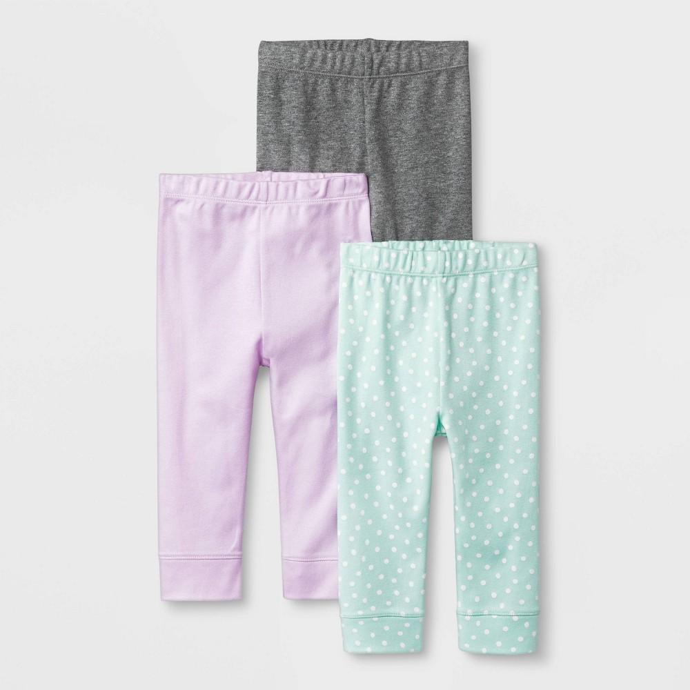 Baby Girls' Sweet Woodland 3pk Pants - Cloud Island 0-3M, Girl's, Purple thumbnail