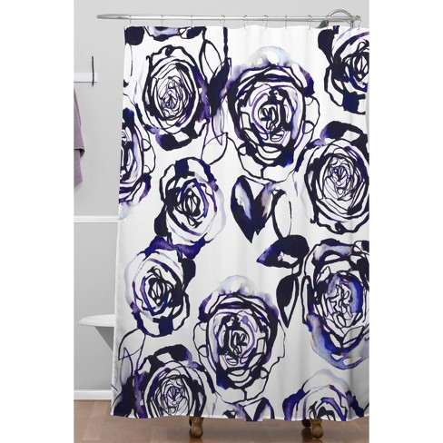 Inky Roses Shower Curtain Blue