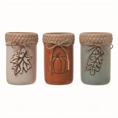 Transpac Ceramic Multicolor Harvest Glazed Container Set of 3