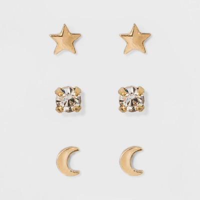 Moon and Star Earring Set 3ct - A New Day™ Gold