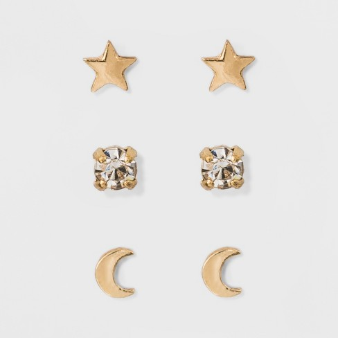 Moon and Star Earring Set 3ct - A New Day™ Gold - image 1 of 2