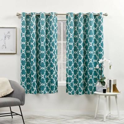 Set of 2 Gates Sateen Woven Room Darkening Grommet Top Window Curtain Panel - Exclusive Home