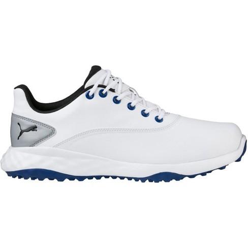 295317983 Men's Puma Grip Fusion Spikeless Golf Shoes White/Blue : Target