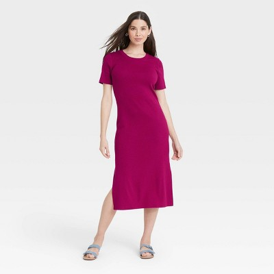 Women's Short Sleeve Rib Knit T-Shirt Dress - A New Day™