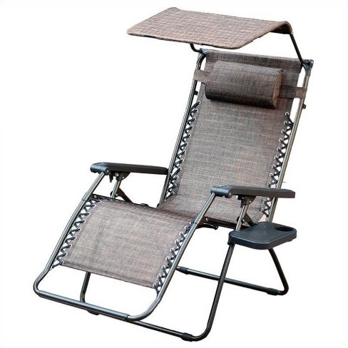 Oversized Zero Gravity Chair with Sunshade in Brown Mesh - Jeco Inc. - image 1 of 2