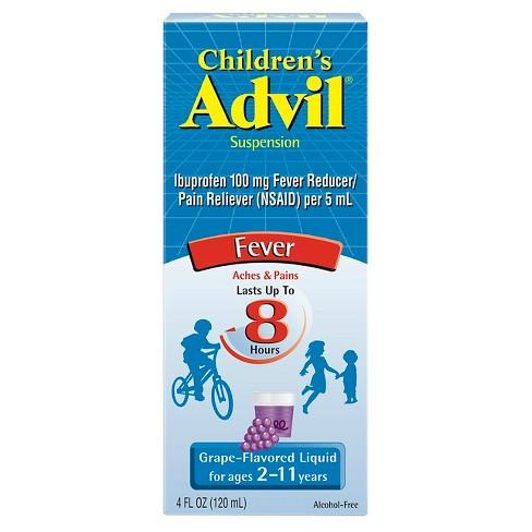 Children's Advil Liquid Fever Reducer/Pain Reliever, 100 mg Ibuprofen - Grape Flavor - 4 fl oz - image 1 of 3