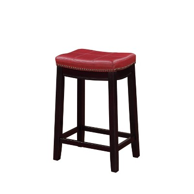 Wooden Counter Height Barstool with Faux Leather Red/Brown - Benzara