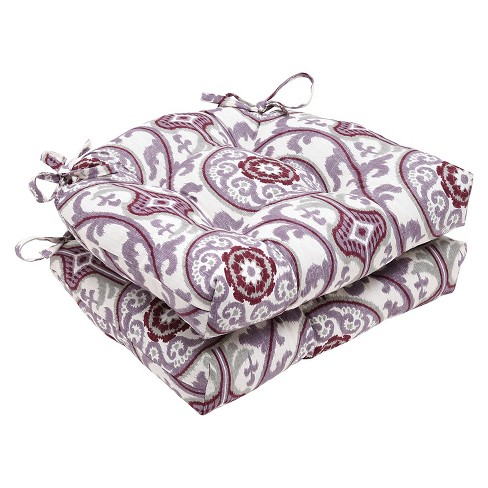 "Purple Suzanni Damask Reversible Chair Pad (Set Of 2) (16""X15.5"") - Pillow Perfect - image 1 of 1"