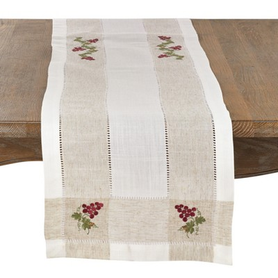 Saro Lifestyle Embroidered Grape Design Poly And Linen Blend Runner