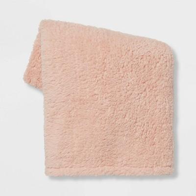 Sherpa Throw Blanket Light Peach - Room Essentials™