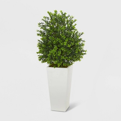 Sweet Grass Artificial Plant White Tower Planter - Nearly Natural