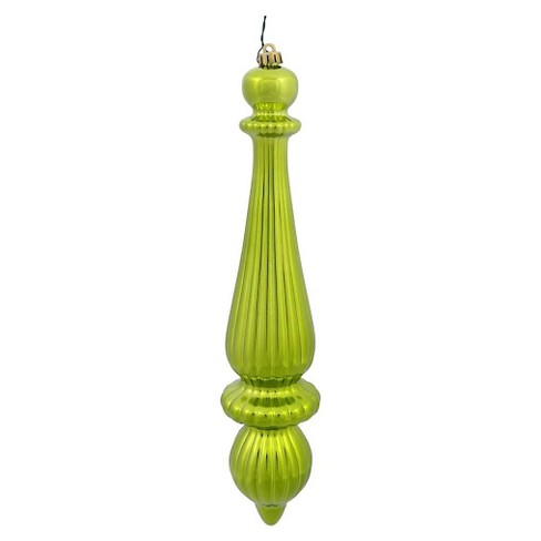 2ct Lime Shiny Finial Drop Drilled Christmas Ornament Set - image 1 of 1