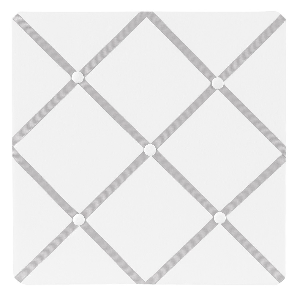 Sweet Jojo Designs Photo Memo Board (13x13) - White & Gray Hotel