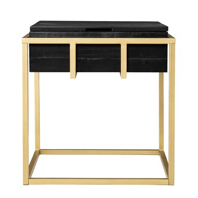 Riexe Reclaimed Wood Storage End Table Black/Brass - Aiden Lane