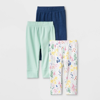 Baby Girls' 3pk Little Wildflower Pants - Cloud Island™ 0-3M