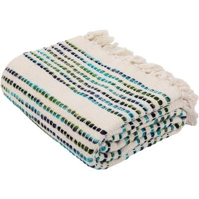 """Landra Fringe Throw Blanket - Blue/White - 60"""" x 72"""" - Safavieh"""