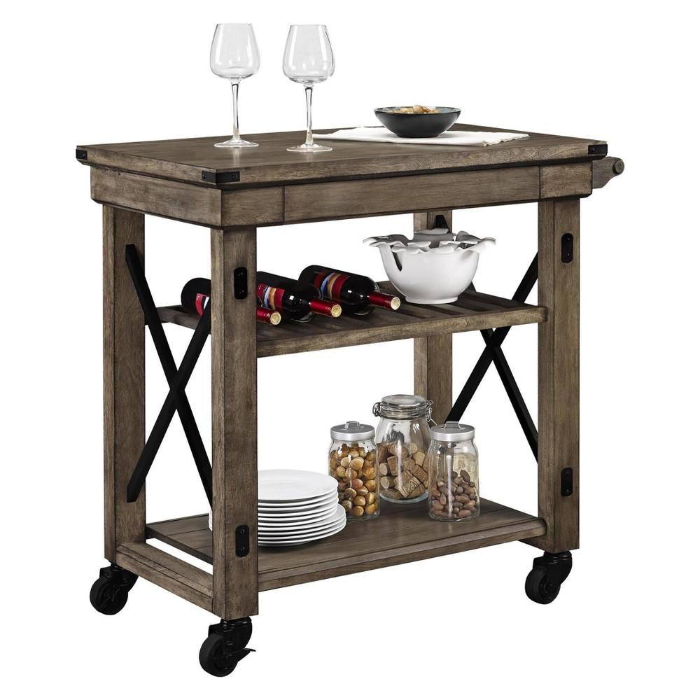 Hathaway Wood Veneer Multi Purpose Rolling Cart Rustic Gray Oak - Room & Joy